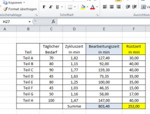EPEI Berechnung Excel Vorlage Teile