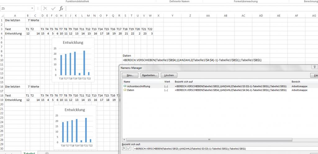 Excel dynamisches Diagramm erstellen 1